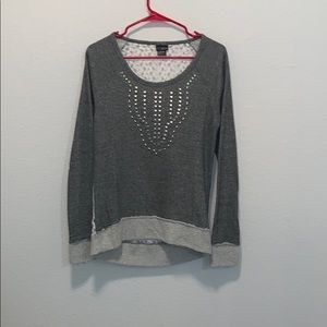 Gray sweater with lace back